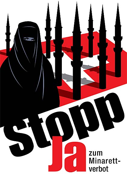 Minaret ban poster by the SVP-party