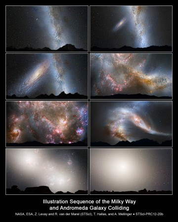 Nightskies – Andromeda collides with the milkyway. Click for brief description.