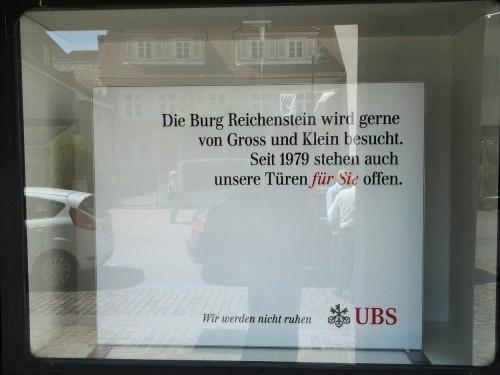 UBS-Werbung in Arlesheim