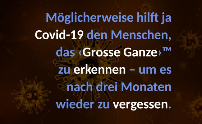 Möglicherweise hilft ja Covid-19 den Menschen, das ‹Grosse Ganze›™ zu erkennen – um es nach drei Monaten wieder zu vergessen.